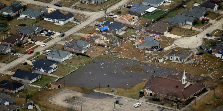 At least 13 tornadoes touched down on Louisiana, New Orleans on Tuesday. Image Credit: NOLA
