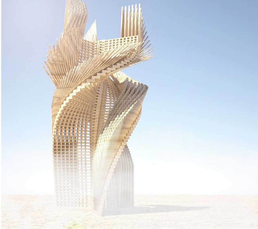 """""""'Tangential Dreams"""" is an architectural installation that hopes to come to the playa this year. The 30-foot tall twisting tower with inspiring sentences written by Burners around the world is partly funded by the Burning Man Arts Grant and is now running a #kickstarter campaign to complete its fundraising,"""" wrote @burningman. Image credit: @mamoumani"""