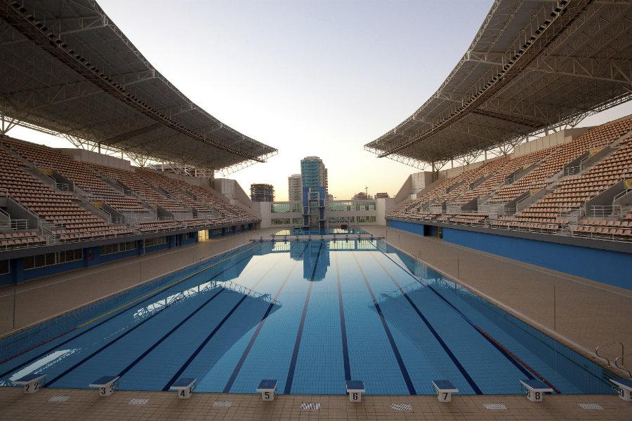 A shot from inside the Maria Lenk Aquatics Centre in Rio de Janeiro where all aquatic events will take place. Image Credit: Rio 2016