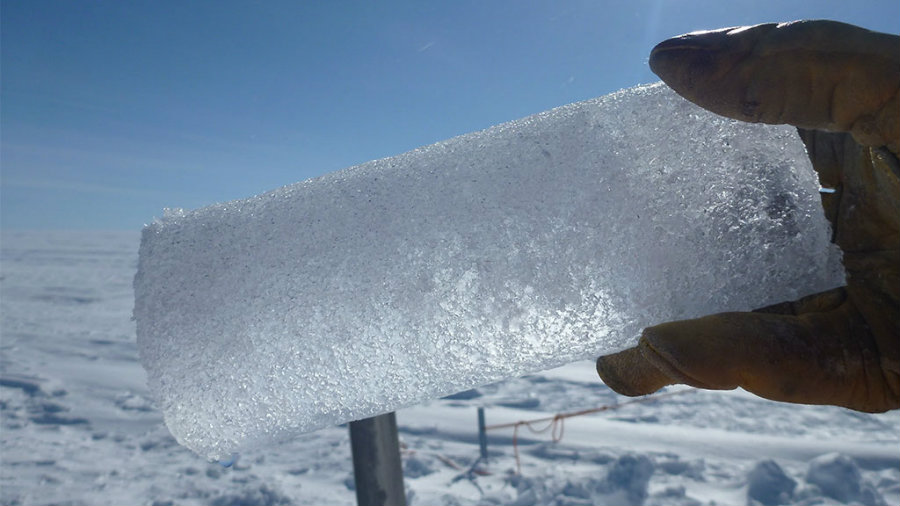 Those samples are called ice cores, and they are compared to a sheet that has stored data for thousands of years. Image Credit: Science Poles