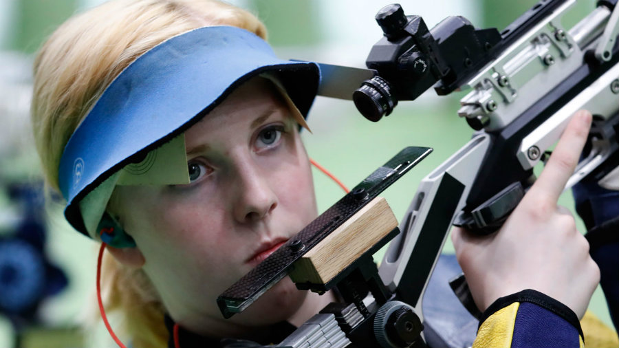 Ginny Trasher, winner of the first gold medal at the Rio Olympics, started shooting rifle five years ago marking the beginning of a shooter career that had its highest point today when she won over two Chinese shooters in the Women's Air Rifle category. Photo credit: In USA News