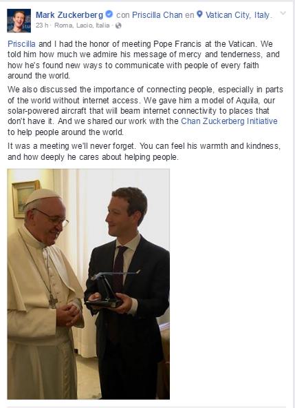 Mark Zuckerberg Pope