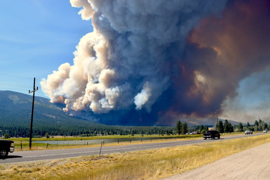 "A great fire called the ""Roaring Lion fire"" because  it started near the Roaring Lion Road in Hamilton, Montana, has burnt 14 housed and around 500 have been evacuated. Photo credit: Courtney Ferguson / KTVQ"