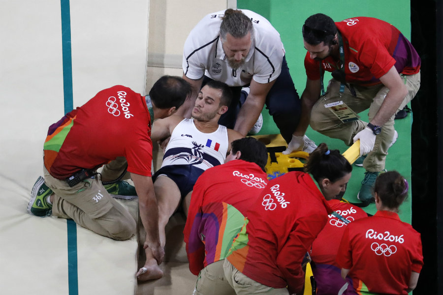Ait Said was performing on the first day of men's gymnastics when he suffered a horrific leg break in the vault. Photo credit: Thomas Coex / Getty Images / Bleacher Report