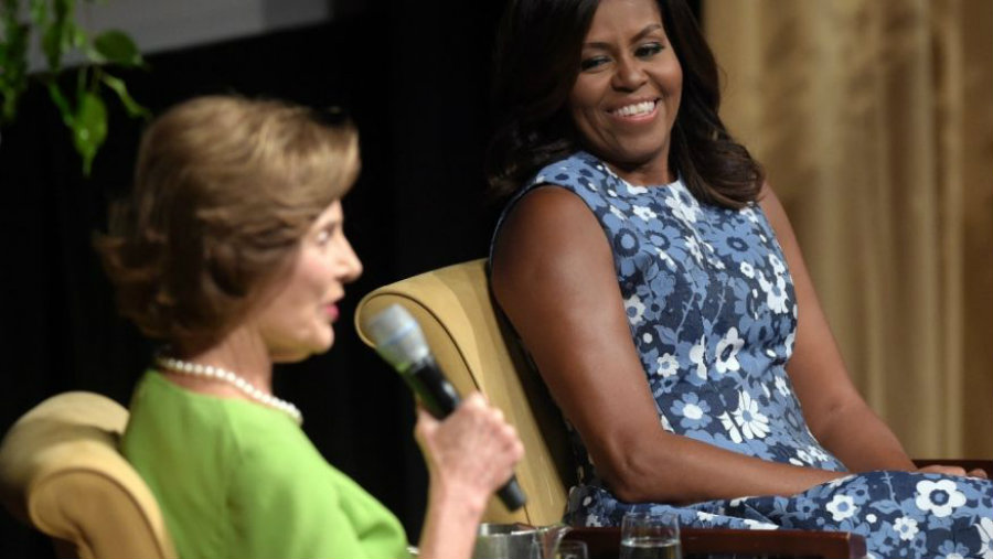 First ladies Obama and Bush sat down in a conference at the National Achieves with Bob Woodruff as moderator. Photo credit: AP / Fox News
