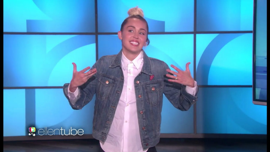 Cyrus came to the studio dressed like Ellen and interviewed Sarah Jessica Parker and  Frozen's Idina Menzel. Photo credit: Ellen Bests Youtube Channel