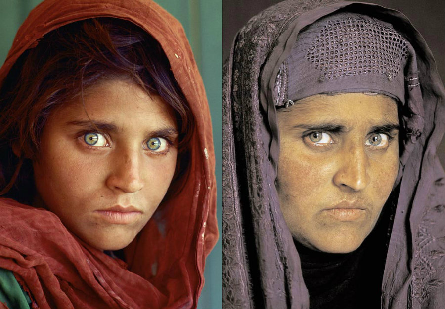"Sharbat Gula, the ""Afghan Girl,"" in 1984 and 2002. Photo credit: The Power of Front Cover"