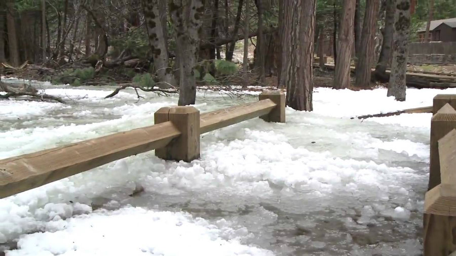 Frazil ice is a natural phenomenon of the Yosemite Valley. Photo credit: Yosemitenationalpark Youtube Chanel
