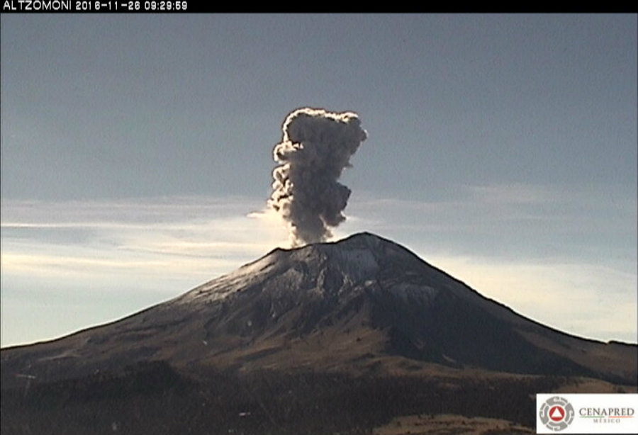 Since Friday, the Popocatépetl volcano recorded 129 exhalations including steam and gas emission. Photo credit: CENAPRED