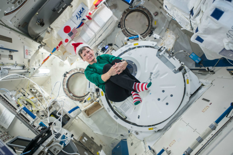 Peggy Whitson celebrating Christmas on the ISS. Photo credit: NASA