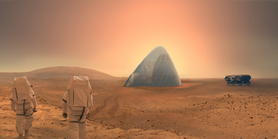 The concept of this constructions relies on the use of the buried ice water beneath Mars' surface. Photo credit: Mars Ice House