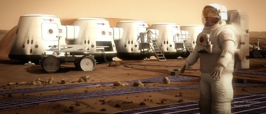 Mars One wants to land the first humans on Mars and establish a permanent human colony. Photo credit: Mars One / Vox