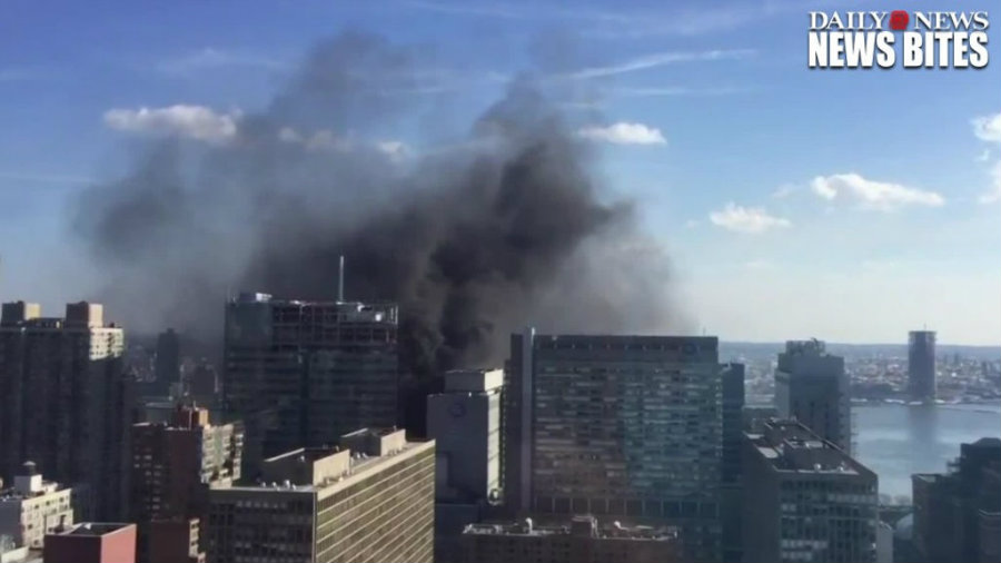 Today, a fire started on a New York University Langone Medical Center building that was under construction. Photo credit: New York Daily News