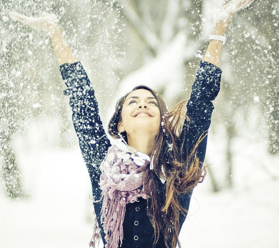 Happy woman in Winter
