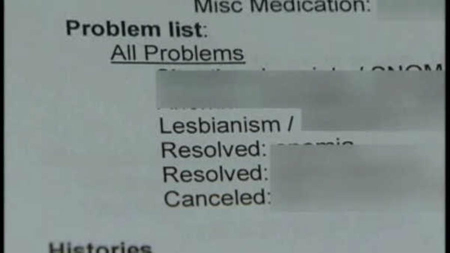 "Kristina Rodriguez was shocked to find ""lesbianism"" as a medical issue on her medical record. Image credit: ABC 11"