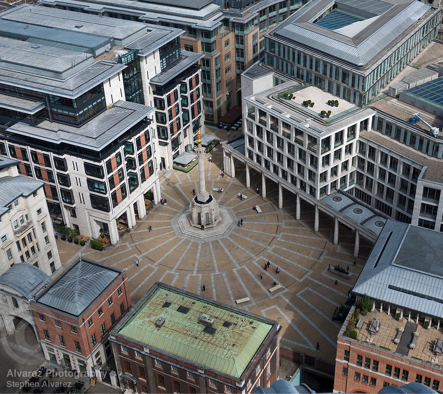 Patemoster Square and the London Stock Exchange from St Paul's Cathedral.
