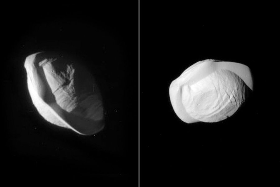 Thanks to the pictures taken by the Cassini probe, scientists have some hypothesis regarding the satellite's unique physique. Image credit: NASA / The Verge