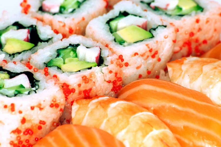 California maki and sushi close up