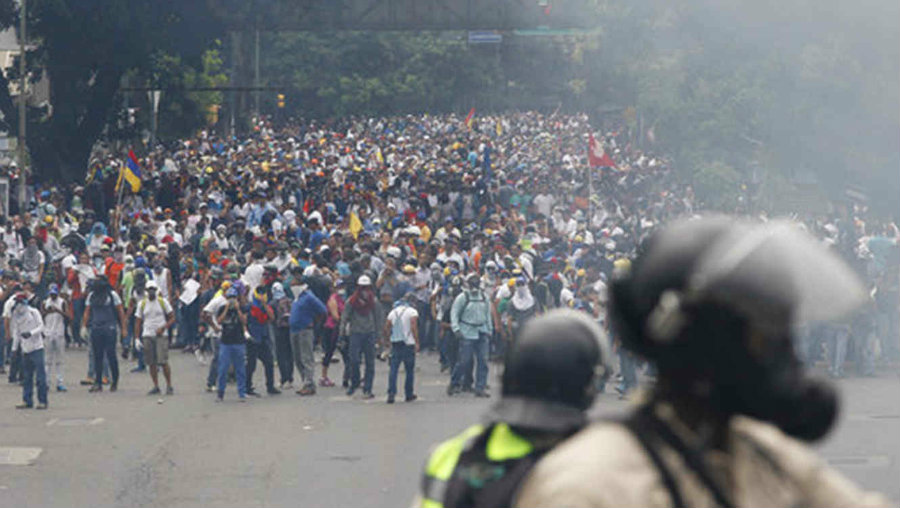 Venezuela's opposition has over a month protesting throughout the country. Image credit: Telemundo