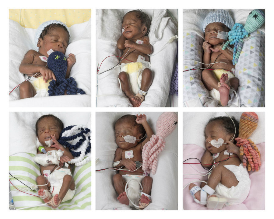 Ajibola gave birth to sextuplets on May 11 at a Richmond hospital. Image credit: Allen Jones / VCU Medical Center / The Virginian-Pilot