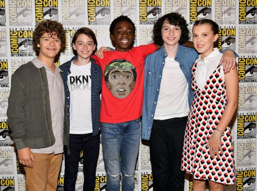 Gaten Matarazzo, Noah Schnapp, Caleb McLaughlin, Finn Wolfhard at San Diego Comic-Con 2017. Image Credit: Dia Dipasupil / Getty Images