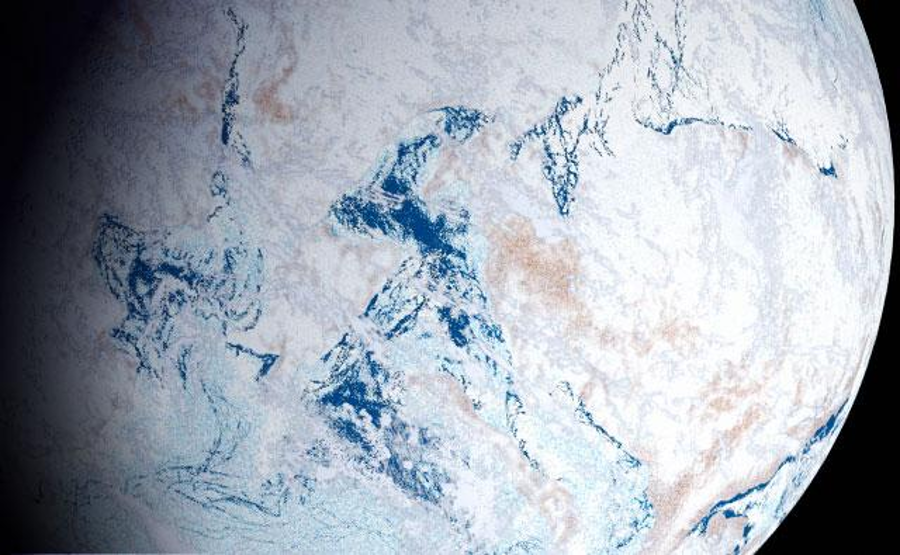 Planet Earth covered by ice from pole to pole for long periods in the geological past, such as the Cryogenian period. Image Credit: Snowball Earth