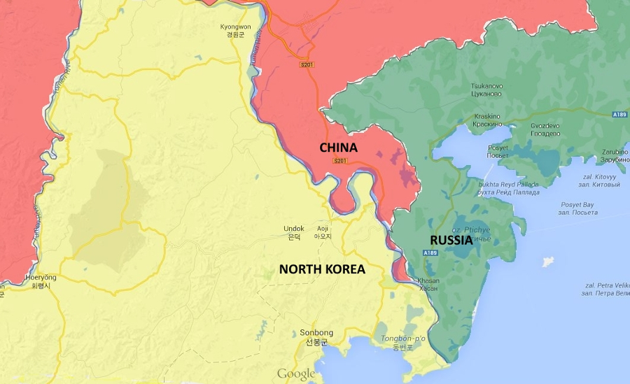 North Korea borders both China and Russia, meaning that a U.S.-based military intervention would severely destabilize the region. Image Credit: Shifty377 / Imgur