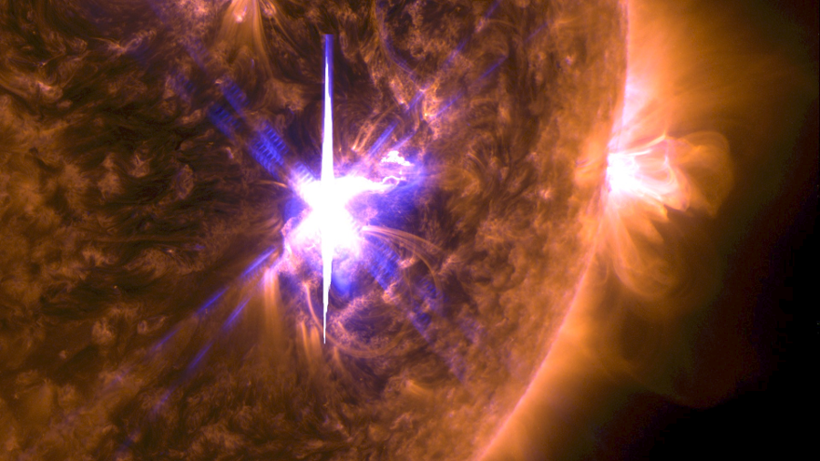 An X9.3 class solar flare in the middle of the Sun on Sept. 6, 2017. Image Credit: NASA / GSFC / SDO