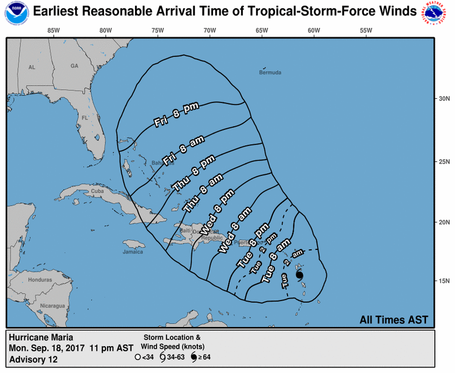 Maria's likely trajectory for this week. Image Credit: NOAA