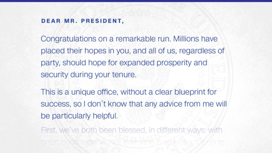 An extract from the letter written by Obama. Image Credit: CNN