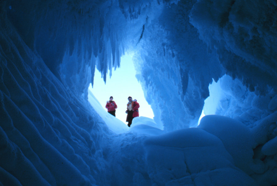 The team was stationed at Mount Erebus when they discovered the cave systems, which were carved out of the ice steam from the active volcano. Image credit: Pinterest