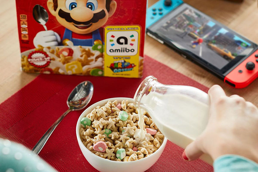 Mario turning cereal, Kellogg's and Nintendo, Plumber, Amiiba, Nintendo and Kellogg's cereal, New Super Mario cereal