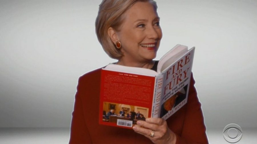 Hillary Clinton, reading 'Fire and Fury,' makes a Grammys cameo