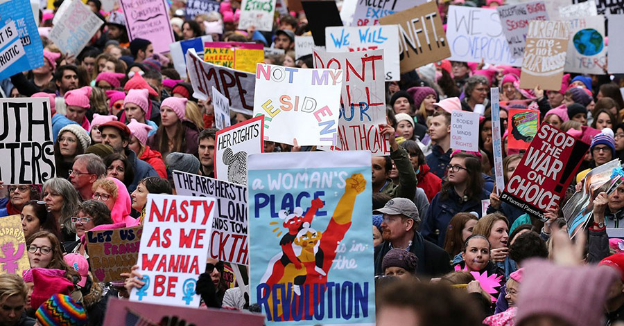 Women march as Trump starts second year