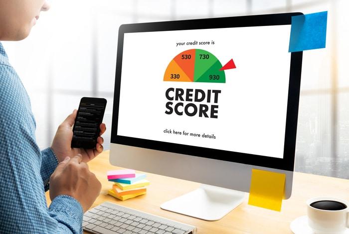Man Checking Credit Score Online
