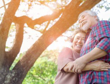 Elderly Couple Smiling Outdoor